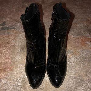Top shop croc embossed black booties